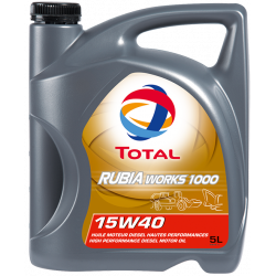 Huile moteur TOTAL RUBIA WORKS 1000 - 15W40 Bidon 5L pour machines TP RUBIA1000-5L
