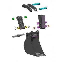 Kit partiel godet (axes et bagues 9 et 11) pour KUBOTA K008 / K008 ALPHA