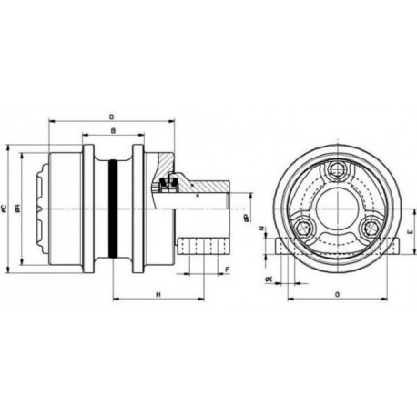 Galet supérieur HITACHI EX60.2 / EX60.3 / EX75UR UH058H1A-HITACHI