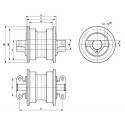Galet inférieur VOLVO EC140LCM / EC150LC / EC160B / EC160C / EC180B / EC180C UF173E5E-VOLVO1