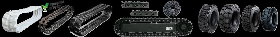 Chenilles caoutchouc mini pelle Chaines acier et pneu de chargeuse