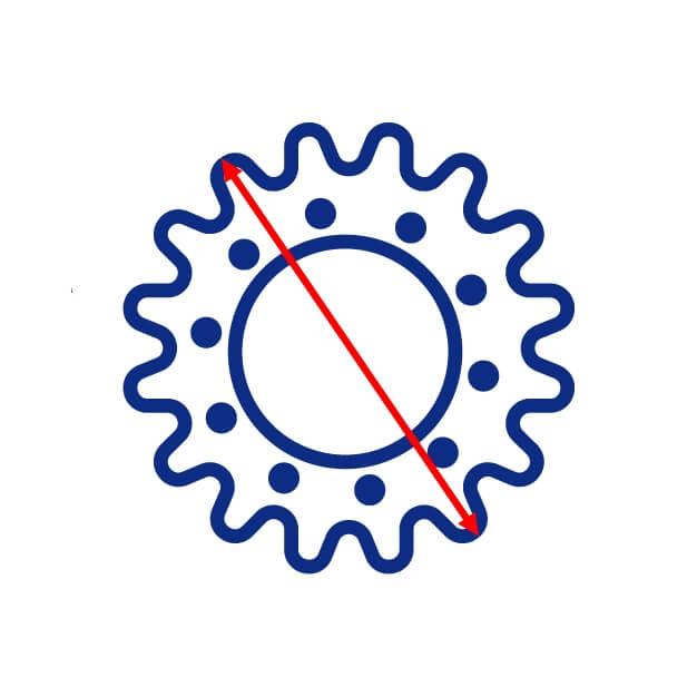 Diamètre extérieur d'un barbotin de mini pelle