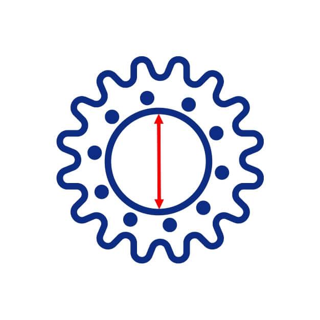 Diamètre intérieur d'un barbotin de mini pelle